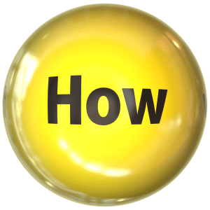 "Image of a button including the word ""how,"" to represent an experienced Monmouth County divorce attorney answering the question of how to divorce in NJ"